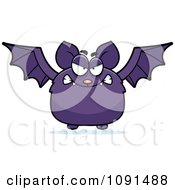 Clipart Mad Purple Bat Royalty Free Vector Illustration by Cory Thoman