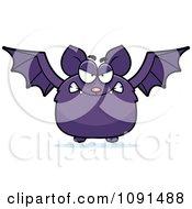 Clipart Mad Purple Bat Royalty Free Vector Illustration