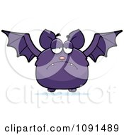 Clipart Depressed Purple Bat Royalty Free Vector Illustration by Cory Thoman