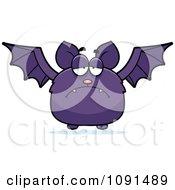 Clipart Depressed Purple Bat Royalty Free Vector Illustration