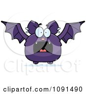 Clipart Scared Purple Bat Royalty Free Vector Illustration by Cory Thoman
