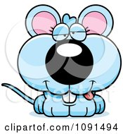 Clipart Cute Dumb Blue Mouse Royalty Free Vector Illustration