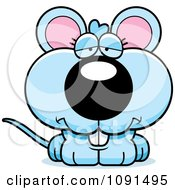 Clipart Cute Depressed Blue Mouse Royalty Free Vector Illustration