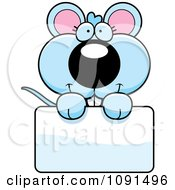 Clipart Cute Blue Mouse Holding A Sign Royalty Free Vector Illustration
