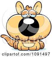 Clipart Cute Depressed Kangaroo Royalty Free Vector Illustration