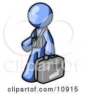 Blue Male Tourist Carrying His Suitcase And Walking With A Camera Around His Neck Clipart Illustration