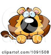 Clipart Cute Lion Over A Surface Royalty Free Vector Illustration