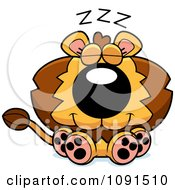Clipart Cute Napping Lion Royalty Free Vector Illustration