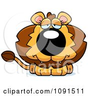 Clipart Cute Depressed Lion Royalty Free Vector Illustration