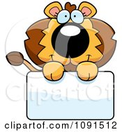 Clipart Cute Lion Holding A Sign Royalty Free Vector Illustration