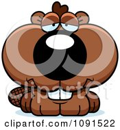 Clipart Cute Depressed Beaver Royalty Free Vector Illustration