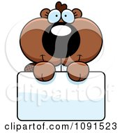 Clipart Cute Beaver Holding A Sign Royalty Free Vector Illustration