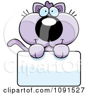 Clipart Cute Purple Kitten Holding A Blank Sign Royalty Free Vector Illustration