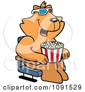 Clipart Cat Eating Popcorn And Watching A 3d Movie At The Theater Royalty Free Vector Illustration