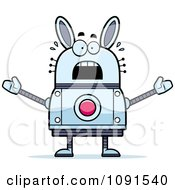 Clipart Scared Robot Rabbit Royalty Free Vector Illustration by Cory Thoman