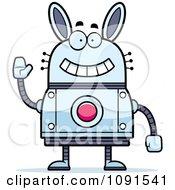 Clipart Waving Robot Rabbit Royalty Free Vector Illustration by Cory Thoman