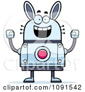 Clipart Cheering Robot Rabbit Royalty Free Vector Illustration