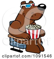 Clipart Bear Eating Popcorn And Watching A 3d Movie At The Theater Royalty Free Vector Illustration by Cory Thoman