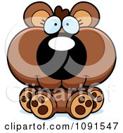 Clipart Cute Sitting Bear Cub Royalty Free Vector Illustration