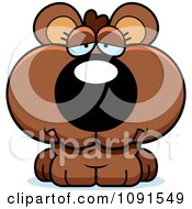 Clipart Cute Sad Bear Cub Royalty Free Vector Illustration