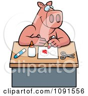 Clipart Arts And Crafts Pig Royalty Free Vector Illustration by Cory Thoman