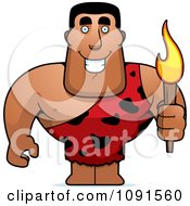 Clipart Buff Caveman Holding A Torch Royalty Free Vector Illustration