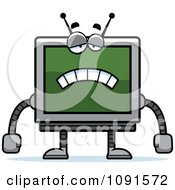 Clipart Sad Screen Robot Royalty Free Vector Illustration by Cory Thoman