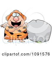 Clipart Plump Cave Woman With A Boulder Royalty Free Vector Illustration