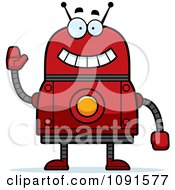 Clipart Waving Red Robot Royalty Free Vector Illustration