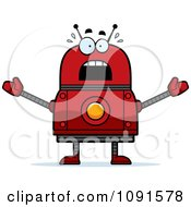 Clipart Scared Red Robot Royalty Free Vector Illustration by Cory Thoman
