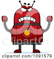 Clipart Mad Red Robot Royalty Free Vector Illustration by Cory Thoman