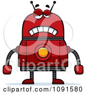 Clipart Sad Red Robot Royalty Free Vector Illustration by Cory Thoman