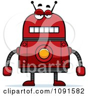 Clipart Bored Red Robot Royalty Free Vector Illustration by Cory Thoman