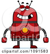 Clipart Drunk Red Robot Royalty Free Vector Illustration by Cory Thoman