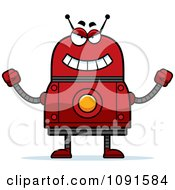 Clipart Evil Red Robot Royalty Free Vector Illustration by Cory Thoman