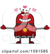 Clipart Loving Red Robot Royalty Free Vector Illustration by Cory Thoman