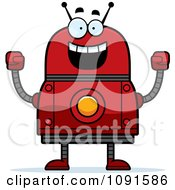 Clipart Cheering Red Robot Royalty Free Vector Illustration by Cory Thoman