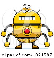 Clipart Bored Golden Robot Royalty Free Vector Illustration by Cory Thoman