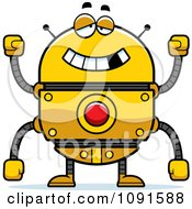 Clipart Drunk Golden Robot Royalty Free Vector Illustration by Cory Thoman