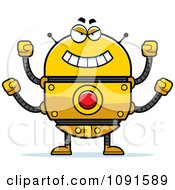 Clipart Evil Golden Robot Royalty Free Vector Illustration by Cory Thoman
