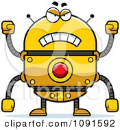 Clipart Mad Golden Robot Royalty Free Vector Illustration by Cory Thoman