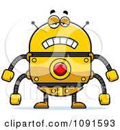 Clipart Sad Golden Robot Royalty Free Vector Illustration by Cory Thoman