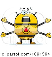 Clipart Scared Golden Robot Royalty Free Vector Illustration by Cory Thoman