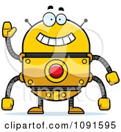 Clipart Waving Golden Robot Royalty Free Vector Illustration