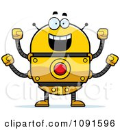 Clipart Excited Golden Robot Royalty Free Vector Illustration by Cory Thoman