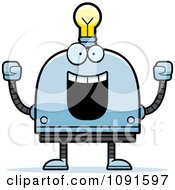 Clipart Cheering Light Bulb Head Robot Royalty Free Vector Illustration by Cory Thoman