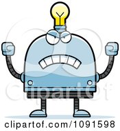 Clipart Mad Light Bulb Head Robot Royalty Free Vector Illustration
