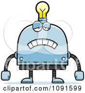 Clipart Sad Light Bulb Head Robot Royalty Free Vector Illustration by Cory Thoman