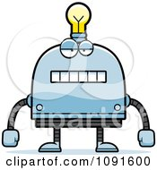 Clipart Bored Light Bulb Head Robot Royalty Free Vector Illustration by Cory Thoman