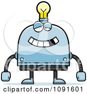 Clipart Dumb Light Bulb Head Robot Royalty Free Vector Illustration by Cory Thoman